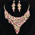 Beautiful Pink Flower Necklace Earring Set W/ Rhinestone Crystals