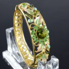 Exquisite Green Flower Bracelet Bangle Cuff Swarovski Crystals High Quality