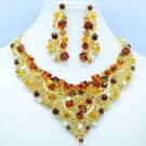 Beautiful Brown Square Rhinestone Crystals Flower Necklace Earring Set NC-5180