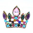 "Vintage Style 2.3"" Crown Pendant Brooch Broach Pin Mix Color Rhinestone Crystals"