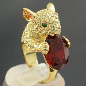 High Quality Animal Yellow Mouse Cocktail Ring 7# W/ Swarovski Crystal SR1776-1