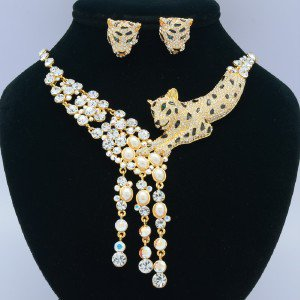 White Faux Pearl Panther Leopard Necklace Earring Set W/ Clear Swarovski Crystal