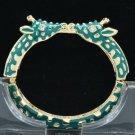 Enamel Green 2 Giraffe Bracelet Bangle Cuff W/ Clear Rhinestone Crystals L1104