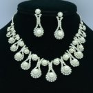 White Faux Pearl Necklace Earring Wedding Jewelry Set W/ Clear Swarovski Crystal