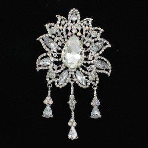 """Bridal Clear Rhinestone Crystal Drop Leaf Flower Brooch Pin 4.5"""""""