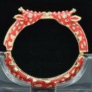 Enamel Red 2 Giraffe Bracelet Bangle Cuff W/ Clear Rhinestone Crystals L1104