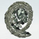 Delicate Drop Rhinestone Crystals Black Flower Brooch Brooch Pin 4236