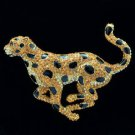 Topaz Swarovski Crystals Run Panther Leopard Brooch Broach Pin SBA4448-2