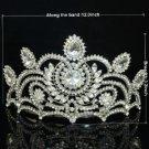 Weddng Grace Bridal Tiara Flower Crown W/ Clear Rhinstone Crystals 0825