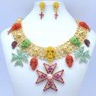 Goth Style Skeleton Skull Cross Necklace Earring Set W/ Mix Swarovski Crystals