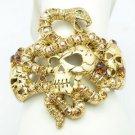 High Quality Topaz Swarovski Crystals Snake Skull Bracelet Bangle SKCA1929-1