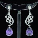 Swarovski Crystals Dangle Purple Zircon Drip Flower Pierced Earring 01624