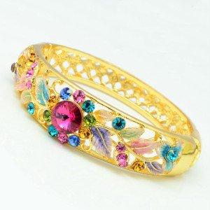 H-Quality Multicolor Flower Bracelet Bangle Cuff W/ Swarovski Crystals Enamel