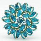 "Vintage Style Rhinestone Crystals Blue Round Flower Brooch Broach Pin 2.5"" 2984"