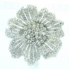 "Wedding Bridal Clear Flower Brooch Boach Pin 2.3"" Rhinestone Crystals 6016"