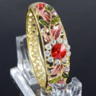 Excellent Red Enamel Flower Bracelet Bangle Cuff W/ Swarovski Crystals 0526