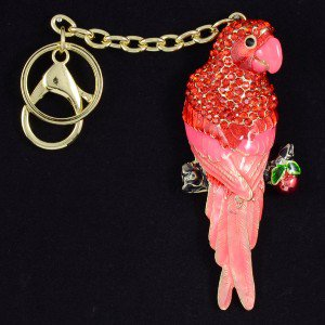 Exquisite Gold Tone Bird Parrot Key Chain Charm with Red Swarovski Crystals