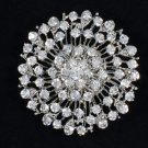"Pretty Round Flower Brooch Pin 2.0"" W/ Clear Rhinestone Crystals Bridal Wedding"