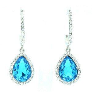 Vogue Dangle Teardrop Pierced Earring W/ Blue Rhinestone Crystals 214114