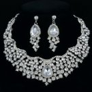 Rhinestone Crystals Teardrop Flower Necklace Earring Set W/ 6 Color 02162