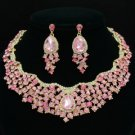 Swarovski Crystals Teardrop Flower Necklace Earring Set W/ 3 Color 02162