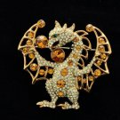 Gold Dragon Brooch Broach Pin for Halloween  w/ Swarovski Crystal SBA4434-4