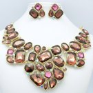 Attractive Gold Tone Rhinestone Crystal Purple Flower Necklace Earring Set 00381