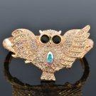 Rose Gold Tone Owl Bracelet Bangle Cuff W Clear Swarovski Crystals SKCA1938M-2