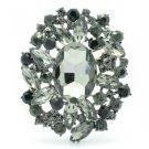 "Flower Pendant Brooch Broach Pin 2.5"" W/ Gray Rhinestone Crystals 4888"