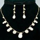 Wedding Clear Zircon Drop Flower Necklace Earring Set Swarovski Crystals 080104