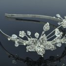 Princess Wedding Leaf Flower Headband Jewelry w/ Clear Swarovski Crystals 26216R