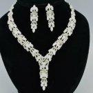 Wheatear Style Bridal Wedding Necklace Earring Set W/ Clear Swarovski Crystals