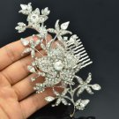 Wedding Dazzling Leaf Flower Hair Comb w/ Clear Rhinestone Crystals 184RJK