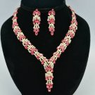 Wheatear Style Necklace Earring Set W/ Clear and Pink Swarovski Crystals