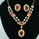 Faux Pearl Fuchsia Zircon Flower Necklace Earring Set Swarovski Crystals 682701