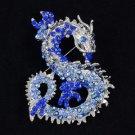 Animal Dragon Brooch BroachPin w/ Blue Rhinestone Crystals 2890