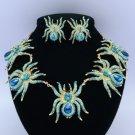 High Quality 5 Tarantula Spider Necklace Earring Set w/ Swarovski Crystals