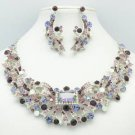 Silver Tone Flower Necklace Earring Set w/ Purple Rhinestone Crystals 5192