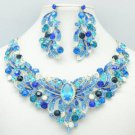 Silver Tone Flower Necklace Earring Set w/ Blue Rhinestone Crystals NC-5196