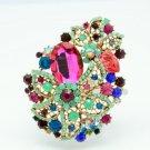 """Pretty 3.3"""" Leaf Flower Brooch Pin Multicolor Rhinestone Crystals Opal 2274"""