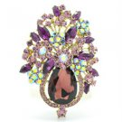 "Vintage Style Purple Rhinestone Crystal Flower Brooch Broach Pin 3.1"" 5844"