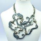 Beautiful Black Multi Sea Horse Necklace w/ Rhinestone Crystals