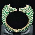 Animal Enamel Green Zebra Cuff Bracelet Bangle W/ Clear Rhinestone Crystal L1077