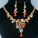 Red Swarovski Crystals Trendy Flower Necklace Earring Jewelry Sets SN3005-2
