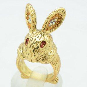 Vintage Style Topaz Swarovski Crystals Bunny Rabbit Cocktail Ring Sz 8# SR2104-1