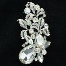 """Wedding Leaf Flower Brooch Broach Pin 3.1"""" W/ Clear Rhinestone Crystals OFA2275"""