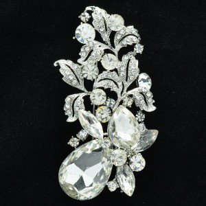 "Wedding Leaf Flower Brooch Broach Pin 3.1"" W/ Clear Rhinestone Crystals OFA2275"