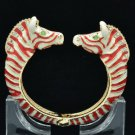 Animal Enamel Red Zebra Cuff Bracelet Bangle W/ Clear Rhinestone Crystals L1077
