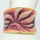 H-Quality Pink Swarovski Crystals Enamel Leaf Flower Bracelet Bangle SKA1961M