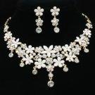 H-Quality White Enamel Flower Necklace Earring Set W/ Clear Swarovski Crystals